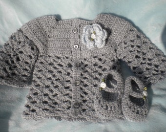 Crocheted Baby Girl Cardigan Heather Grey w Matching MaryJanes Infant 3 6 mo