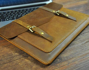 "Dell XPS 13"" Case, Dell XPS 13-inch Sleeve, Personalized Leather Laptop Cover"