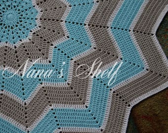 12 pt. Star Blanket in Blue and Gray
