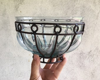 Caged Glass Wrought Iron Bowl, Mexican Glass Vase, Rustic Home Decor, Mexican Decor