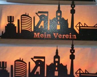 Skyline of Dortmund steel metal stainless steel surface