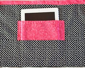 Vendor Teacher iPad Art Craft Half Apron Black White Heart Fuschia Hot Pink Fabric (4 Pockets)