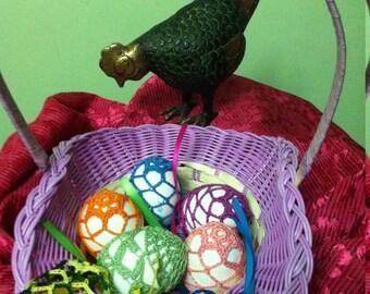Crochet Easter Egg Cover, Set of 7 Hand Crocheted Easter Eggs Easter Decoration
