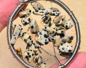 Dalmatian Jasper Tree of Life Pendant