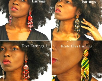 African Earrings, Dashiki Earrings, Ankara Earrings,  Chandelier Earrings - Diva Earrings,Africa Earrings, Ankara Chandelier Earrings