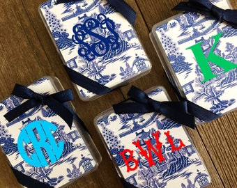 Blue Chinoiserie Standard Deck Playing Cards, Monogrammed