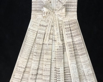 """MUSICAL NOTES- Vintage Paper Dress 24"""" x 18"""" Sailor Style, Nursery Wall Hanging, Girl's Bedroom, Wall Art, Folded Paper Dress"""
