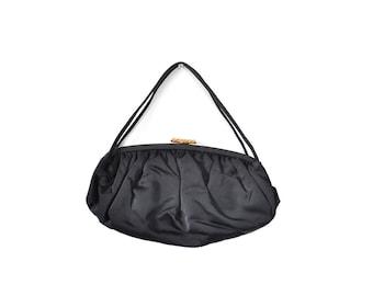 Evening bag, black Formal bag, vintage formal purse, evening purse, satin clutch, satin bag, 1950s purse, 1950s bag, black clutch