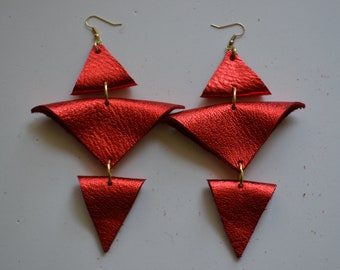 Electric red leather earrings