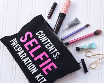 Selfie Preparation Kit Make Up Bag - Black Makeup Bag - Makeup Organizer - Cosmetics Bag - Gift For Her - Selfie Queen - Brush Holder Bag