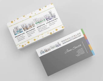 Instant Download - EDITABLE | Gold Polka Dot Business Cards | Customizable Editable PDF Rodan and Fields RF R and F Business Card