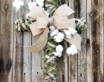 Cotton Cross Wreath, Cross Door Hanger, Moss Cross, Birch Cross, Spring Wreath, Cotton Boll Cross, Front Door Decor, Religious Wreath