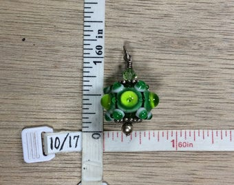 Vintage Green White Lamp Work Glass Pendant Used