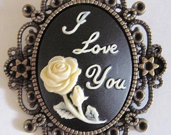Retro vintage cameo brooch rose rockabilly pin up gothic victorian penny dreadful wedding love boho boheme poetry