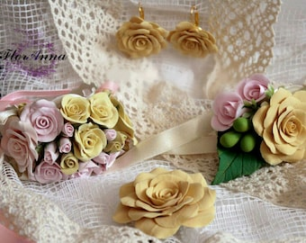 flower wedding set, roses brooch, peach roses brooch, pink bride, peach roses, bridesmaids gift, wedding stuff, groomsman brooch, peach rose