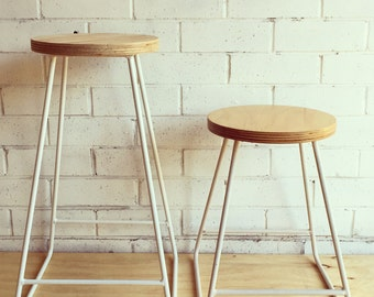 Midcentury stool with plywood seat
