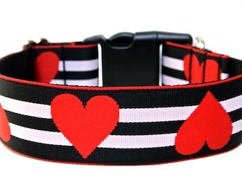 "Valentines Dog Collar 1"" or 1.5"" Red Heart Dog Collar"