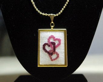 Three Pink Hearts Cross Stitch Pendant, Embroidered Hearts Necklace, Interlocked Hearts Gold-Tone Jewelry