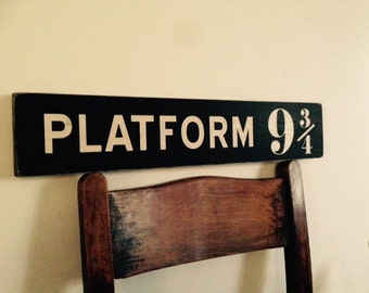 Platform 9 3/4 sign wood Harry Potter handmade vintage style plaque wooden sign wood plaque vintage style
