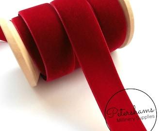 22mm Berisfords Velvet Ribbon for Millinery, Hat Trimming & Crafts 1 metre (1.09 yards) - Dark Red (9614)
