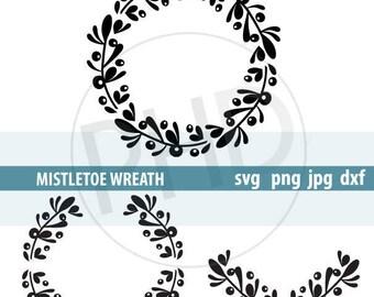 MISTLETOE Wreath, Laurel, Swag- Files for cutting svg, png, jpg, dxf