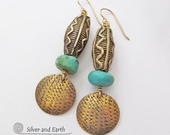 Boho Tribal Earrings, Gold Brass Earrings, Turquoise Earrings, African Tribal Earrings, Ethnic Tribal Jewelry, Artisan Metalwork Jewelry