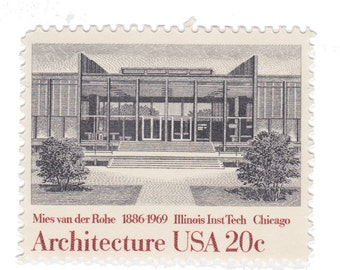 1982 20c Illinois Institute of Technology by Mies Van Der Rohe - Architecture Series - 10 Unused Vintage Postage Stamps - Item No. 2020