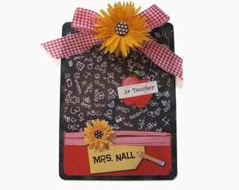 Teacher Gift Clipboard Personalized Daisy A-Plus Blackboard  2 sided Appreciation