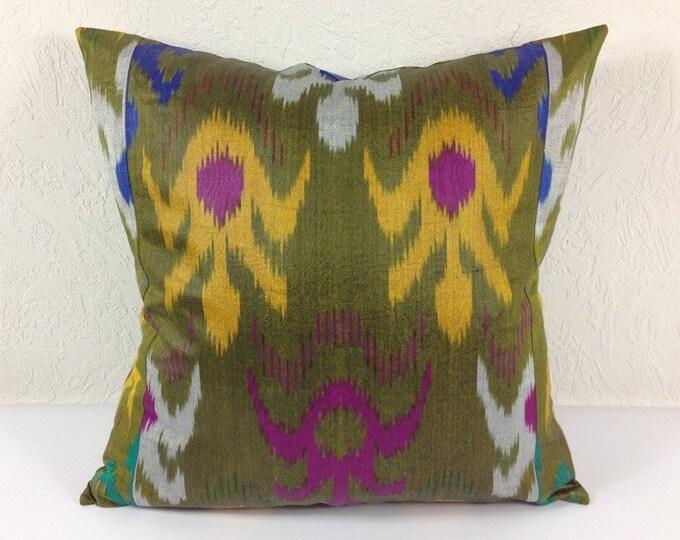 Ikat Pillow, Hand Woven Ikat Pillow Cover IP57 (A438-1aa3), Ikat throw pillows, Designer pillows, Decorative pillows, Accent pillows