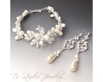 Pearl Bridal Earrings and Bracelet Set - CZ Cubic Zirconia Silver Chandelier Earings with Teardrop Ivory or White Pearls - VERONICA