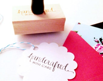"""Calligraphy """"Handcrafted with Care"""" Stamp -  for Crafts, Shops, Gifts, Handmade Goods - 1"""" x 2"""" - Wood Mounted with Handle OR Self-Inking"""