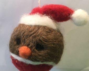 Needle Felted Christmas Tree Robin