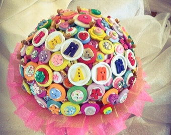 Button Bouquet - Tutti Fruiti 50th anniversary bouquet