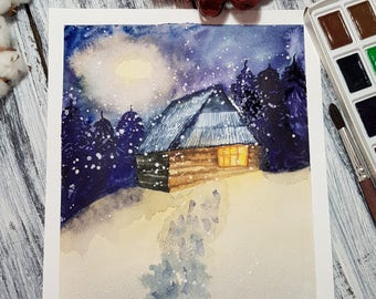 Winter Original Watercolor Painting, snow painting, landscape watercolor