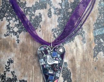 Purple Heart Mosaic Necklace Pendant