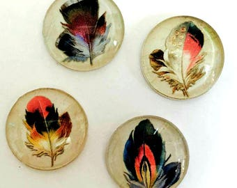 Feather Magnets - Peacock Feather Magnet - Peacock Party - Free U.S. Shipping - Peacock Wedding - Set of 4 - 1 Inch Domed Glass Circles