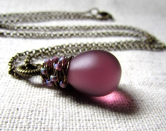 Plum Glass Necklace, Amethyst, Czech Glass, Purple Glass Pendant, Confetti, Wire Wrapped, Antiqued Brass, Frosted Plum, Aubergine Glass