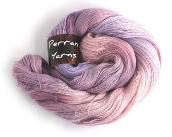 Handdyed variegated laceweight Perran Yarn, Buddleia rose pink lilac purple, Heavenly lace baby alpaca silk cashmere fine 2ply, uk seller