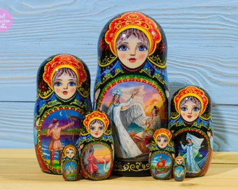 One of a kind nesting doll, Russian matryoshka with fairy tales paintings, Free shipping, Hand painted babushka, Folk art, Original artwork