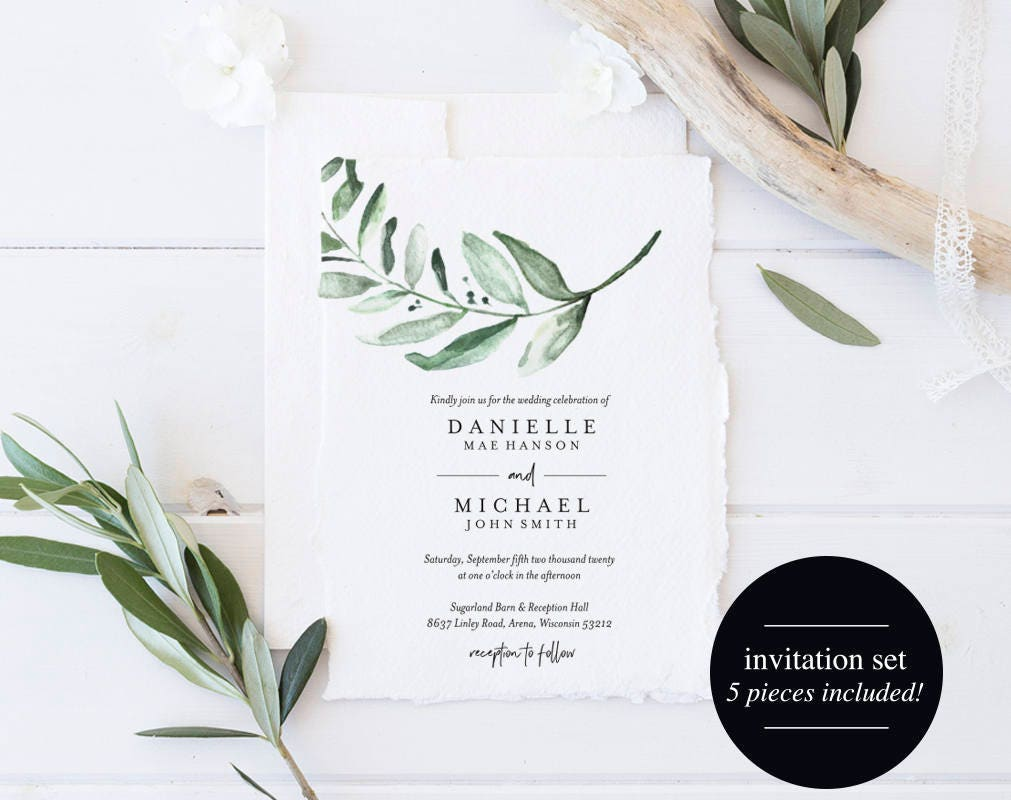 Template For Wedding Invitations: Greenery Wedding Invitation Template Wedding Invite