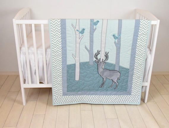 Woodland blanket, Birch tree crib quilt, Personalized deer crib bedding, Personalized baby blanket, mint green and chevron