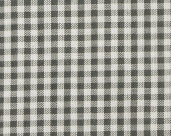 Dark grey white cotton fabric 2mm squared small - Vichy Karo