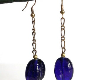 Dark blue glass beads and gold chain earrings