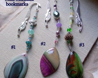 Gemstone bookmark - teardrop purple green agate - page marker - teen book worm gift - mini mermaid bookmark - book club gift - Lizporiginals