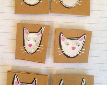 "Fridge Magnet SET - ""White Cats"""