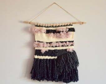 Woven wall hanging gray, pink powder and beige / weaving - wall decor / Wall art