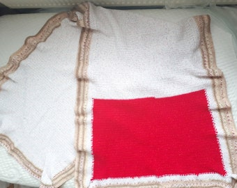 Blanket Shawl Sparkled Red and Speckled White