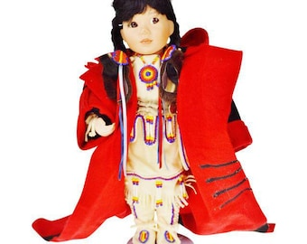 Vintage Native American Indian Children of the Great Spirit Winter Baby Porcelain Doll