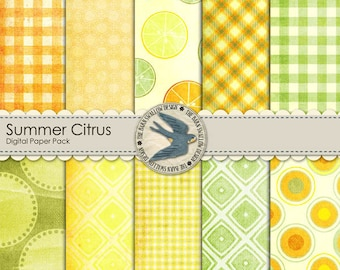 "Digital Scrapbook Paper Pack, Summer Citrus - 12"" x 12"" Instant Download"