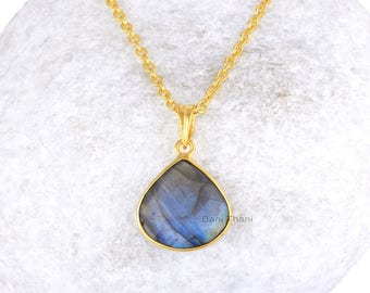 Labradorite Necklace-Labradorite 16x16mm Heart Necklace-Sterling Silver Necklace-Gold Plated Necklace-Gift For Her
